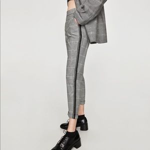 Zara Check Trousers with Red Side Stripe